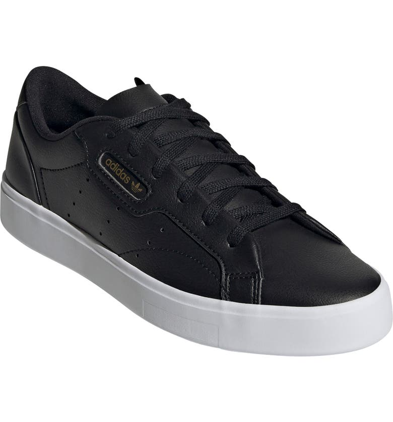 ADIDAS Sleek Leather Sneaker, Main, color, CORE BLACK/ GOLD/ WHITE