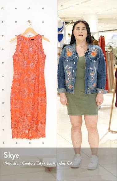 Embroidered Floral Sheath Dress, sales video thumbnail