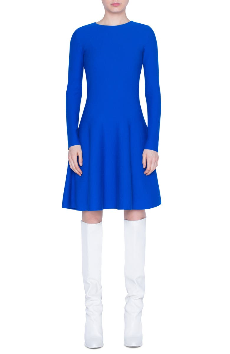 AKRIS PUNTO Long Sleeve Fit & Flare Wool Sweater Dress, Main, color, 400