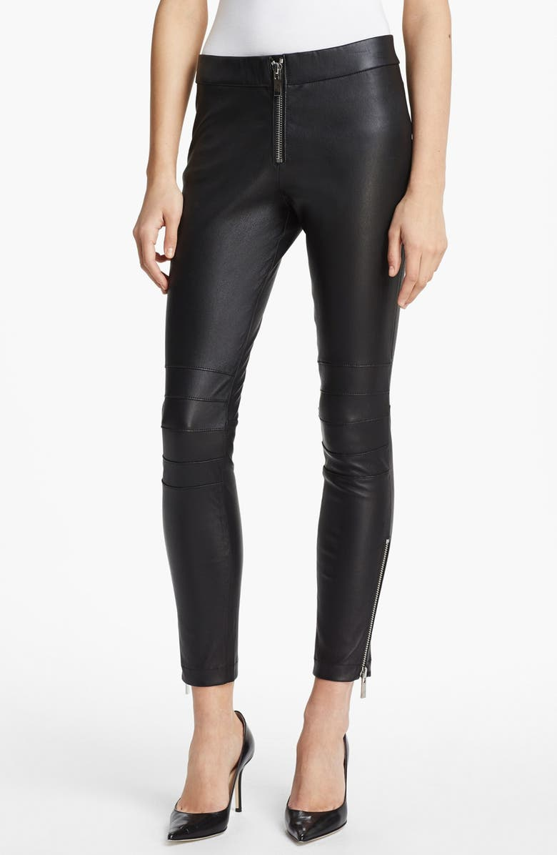 ELIZABETH AND JAMES 'Addison' Lambskin Leather Moto Pants, Main, color, 001