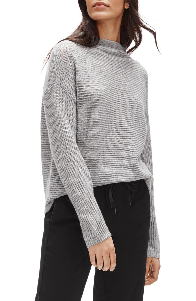 EILEEN FISHER Funnel Neck Boxy Cashmere Sweater, Main, color, 020