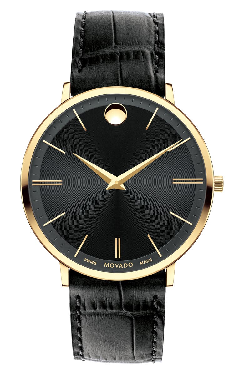 MOVADO Ultra Slim Leather Strap Watch, 40mm, Main, color, 001