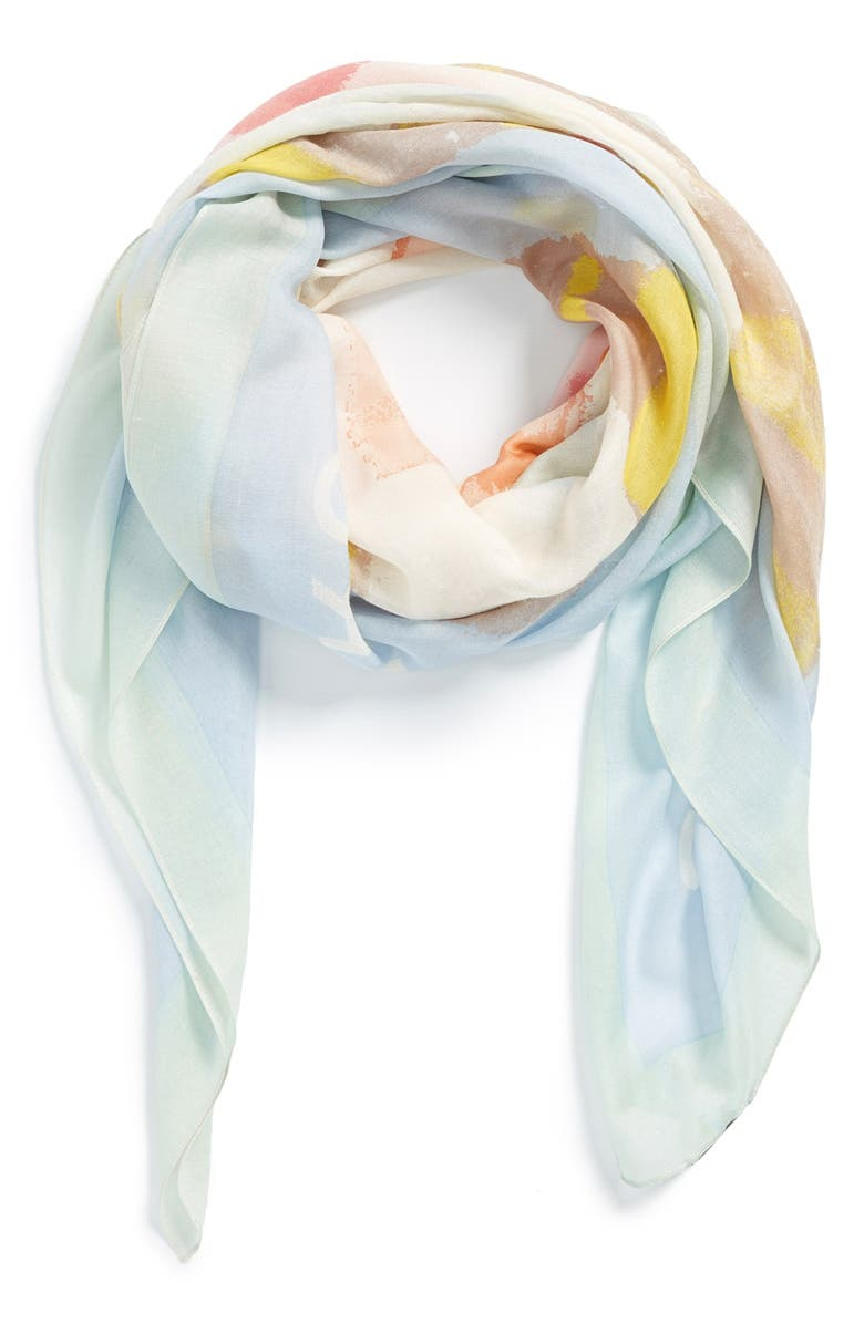 MARC JACOBS MARC BY MARC JACOBS 'Washed Ink' Silk & Wool Square Scarf, Main, color, 400