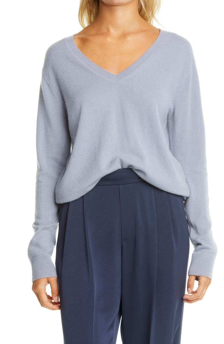 VINCE Weekend V-Neck Cashmere Sweater, Main, color, PIERO BLUE