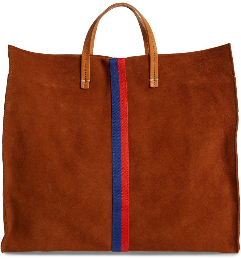 CLARE V. Simple Tote, Main, color, CHESTNUT SUEDE