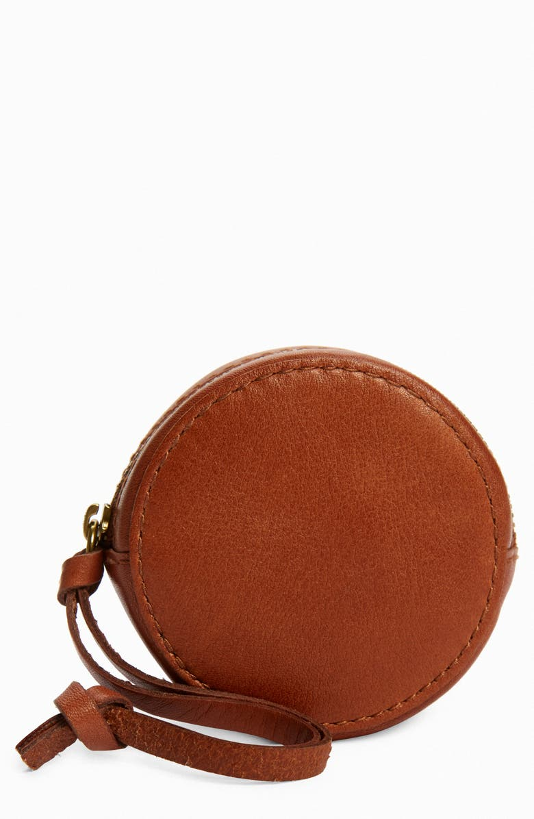 MADEWELL The Mini Leather Circle Pouch, Main, color, ENGLISH SADDLE