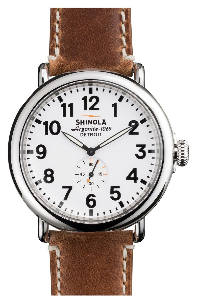 SHINOLA 'The Runwell' Leather Strap Watch, 47mm, Main, color, BROWN/ WHITE/ SILVER