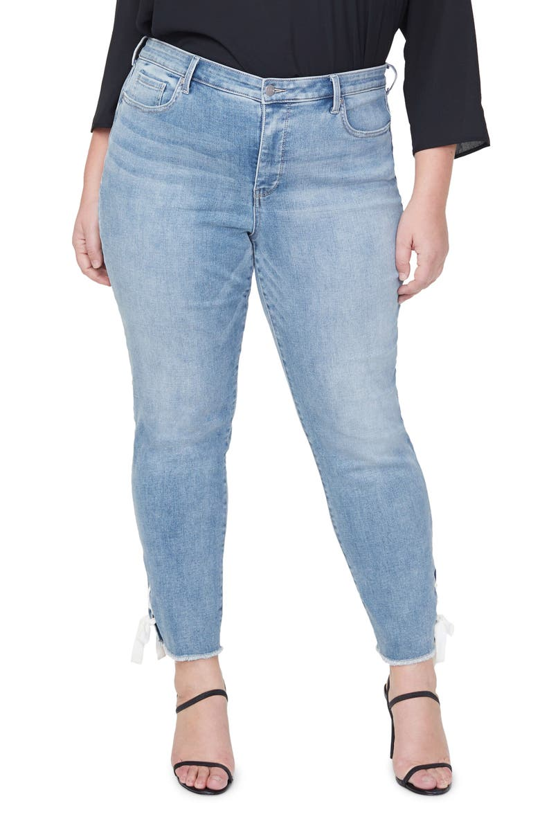 CURVES 360 BY NYDJ Frayed Lace-Up Hem Ankle Slim Jeans, Main, color, COHEED