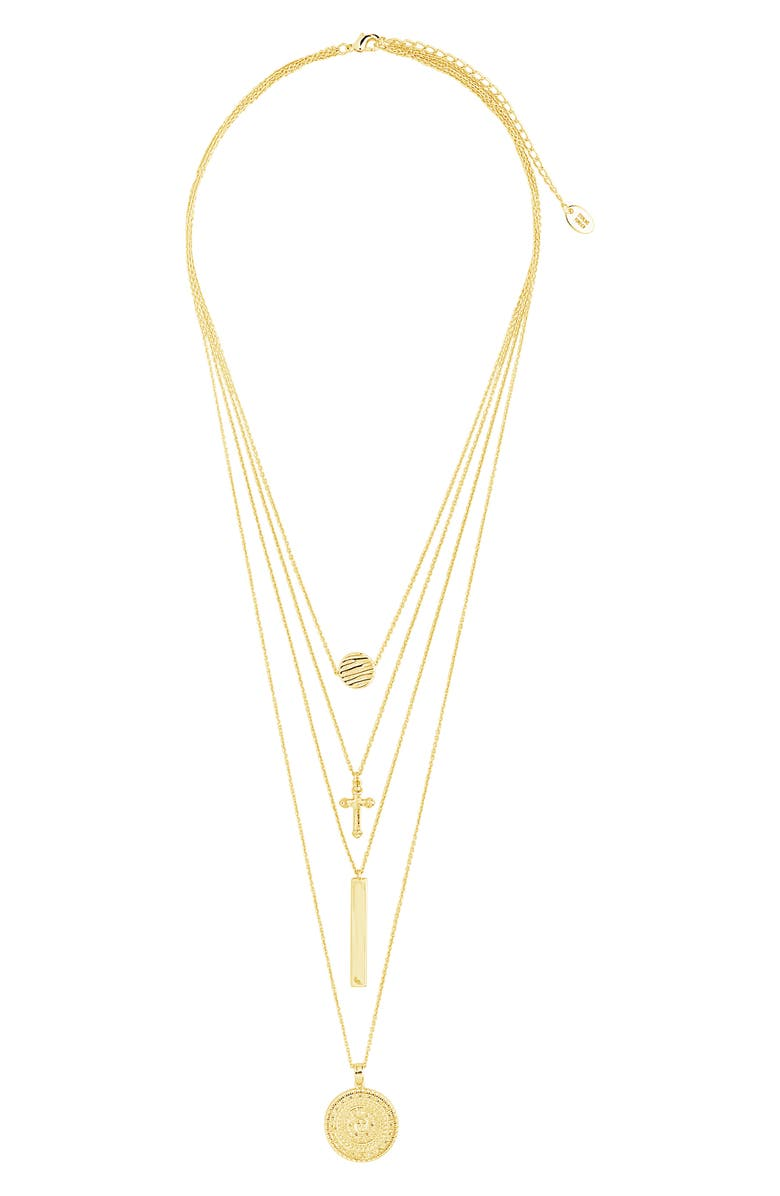 STERLING FOREVER Layered Charm Necklace, Main, color, 710