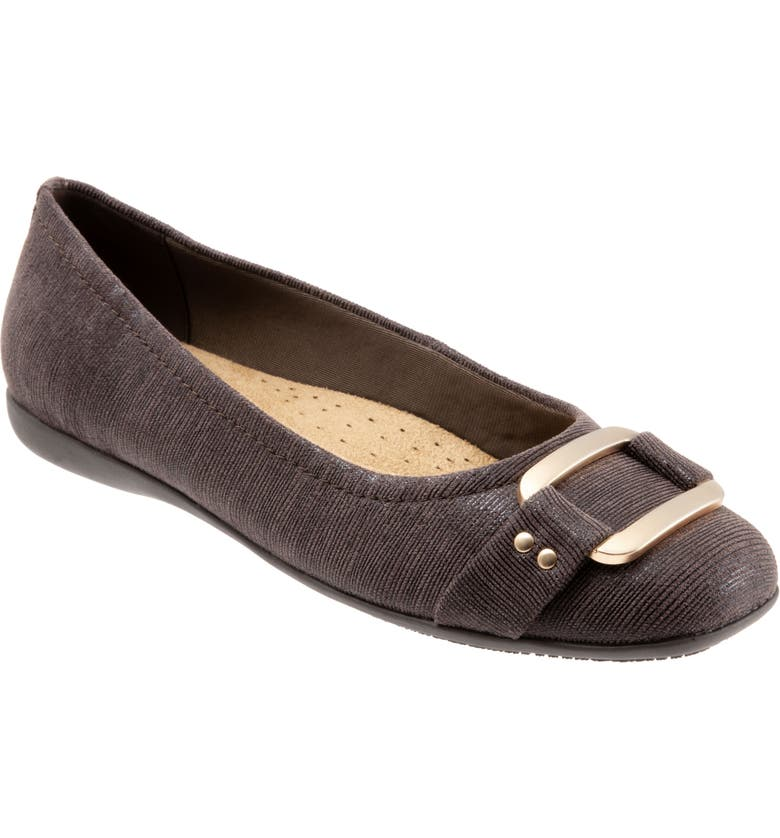 TROTTERS 'Sizzle Signature' Flat, Main, color, DARK BROWN FABRIC