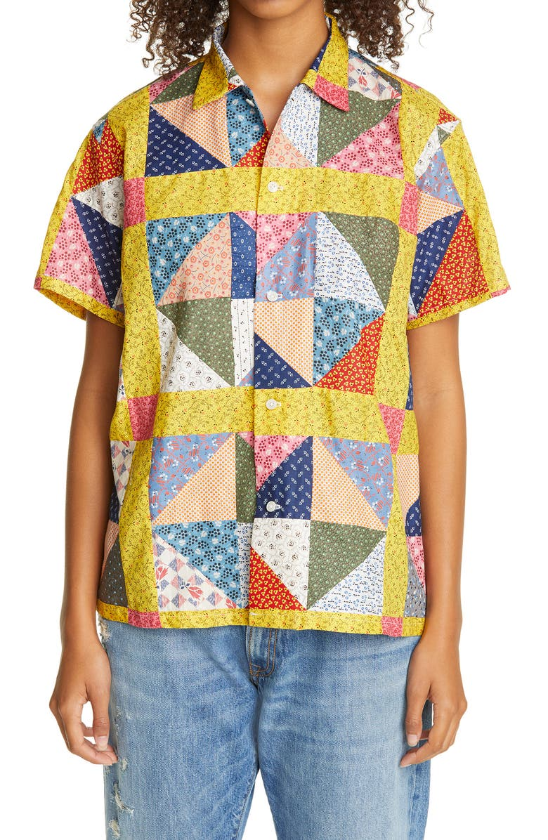 BODE One of a Kind Flying Geese Patchwork Bowling Shirt, Main, color, 600-RED