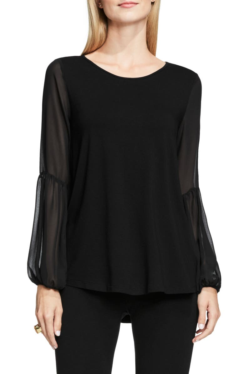 VINCE CAMUTO Chiffon Bishop Sleeve Knit Top, Main, color, RICH BLACK