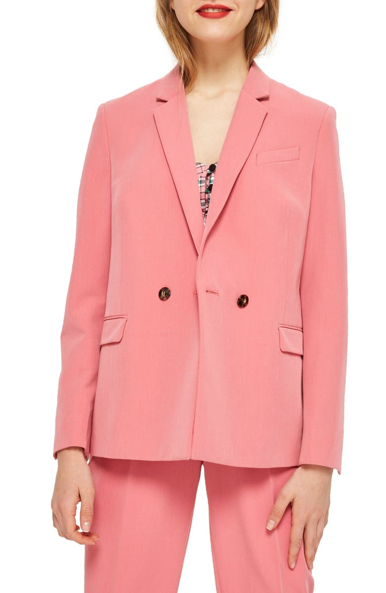 TOPSHOP Longline Double Breasted Button Suit Jacket, Main, color, Pink