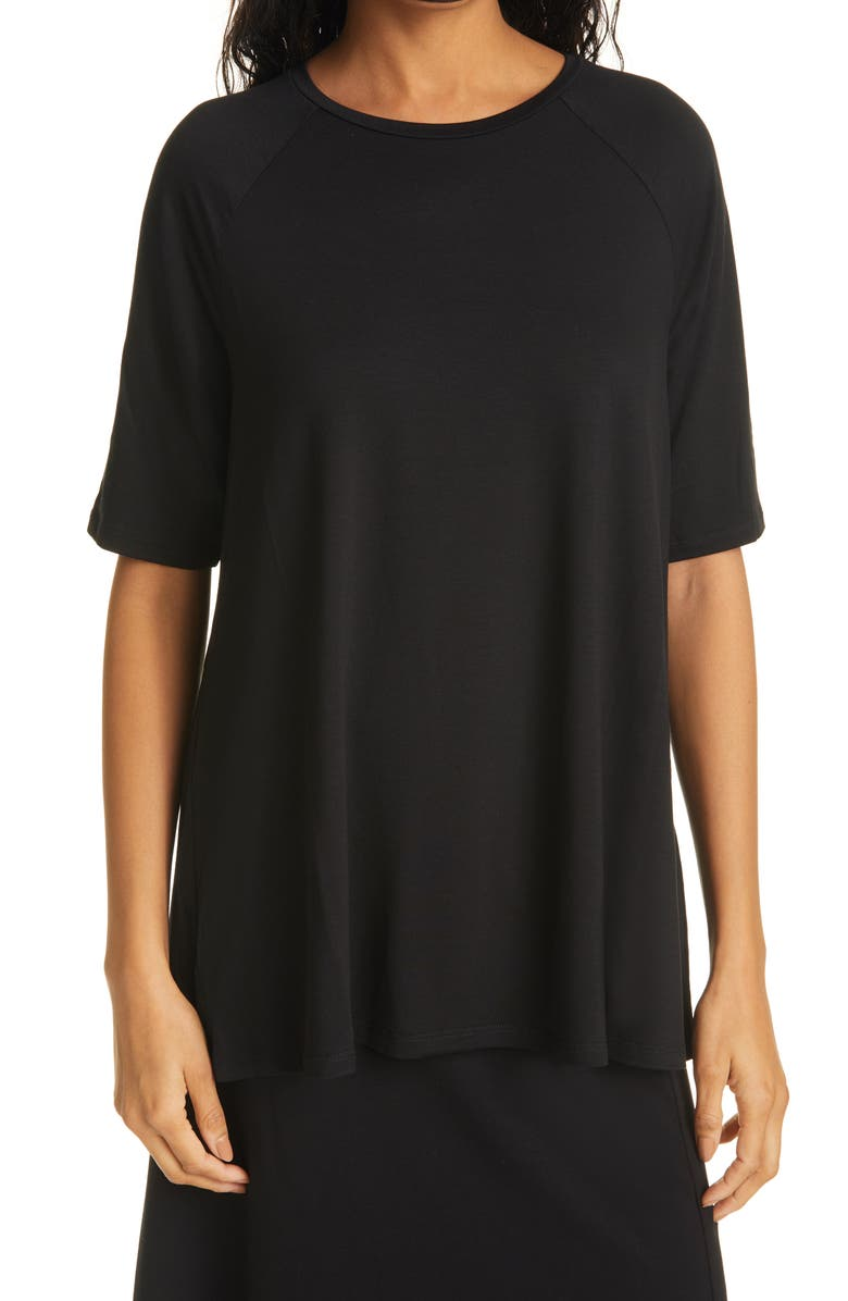 EILEEN FISHER Elbow Sleeve Top, Main, color, BLACK