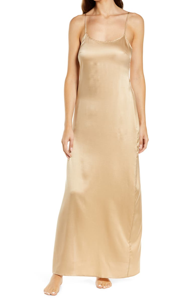 SKIMS Long Stretch Silk Nightgown, Main, color, HONEY