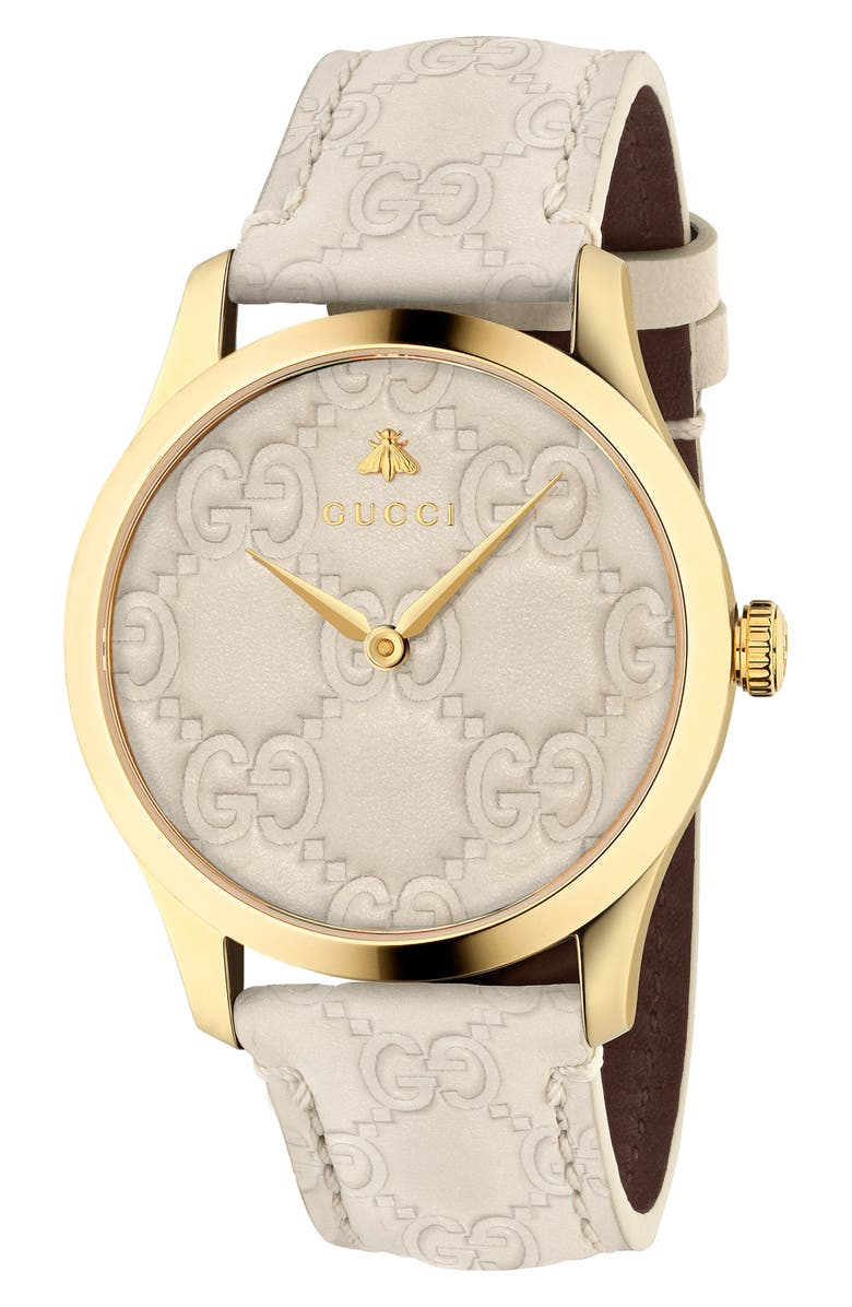 GUCCI G-Timeless Logo Leather Strap Watch, 38mm, Main, color, CREAM/ GOLD