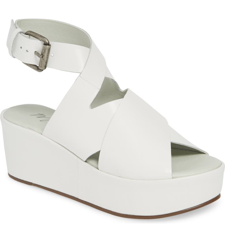 AMUSE SOCIETY X MATISSE Runaway Wedge Sandal, Main, color, WHITE LEATHER