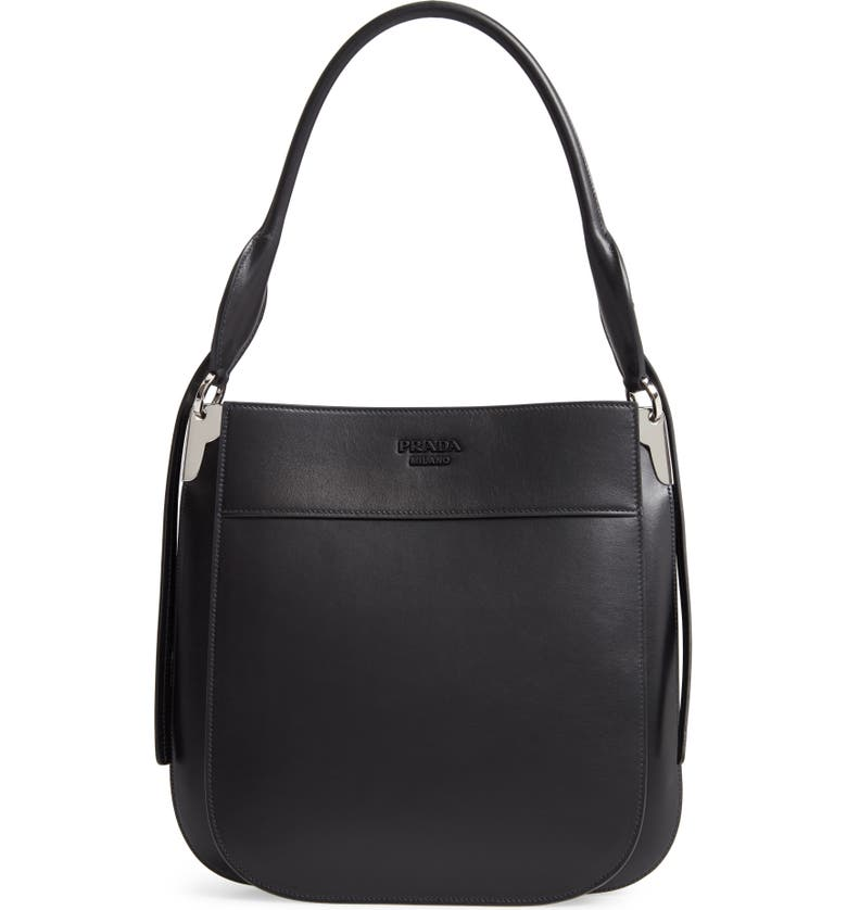 PRADA Medium City Calfskin Leather Hobo Bag, Main, color, 001