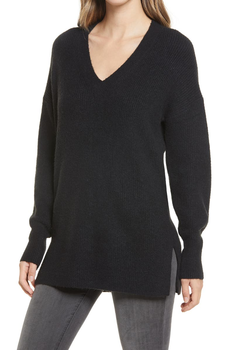 HALOGEN<SUP>®</SUP> Cozy V-Neck Tunic Sweater, Main, color, BLACK
