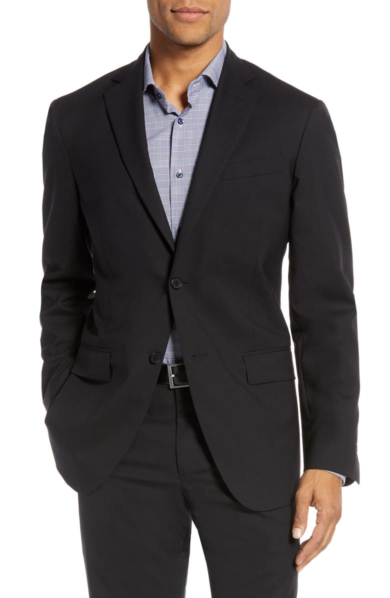 NORDSTROM MEN'S SHOP Nordstrom Tech-Smart Trim Fit Stretch Wool Travel Sport Coat, Main, color, BLACK