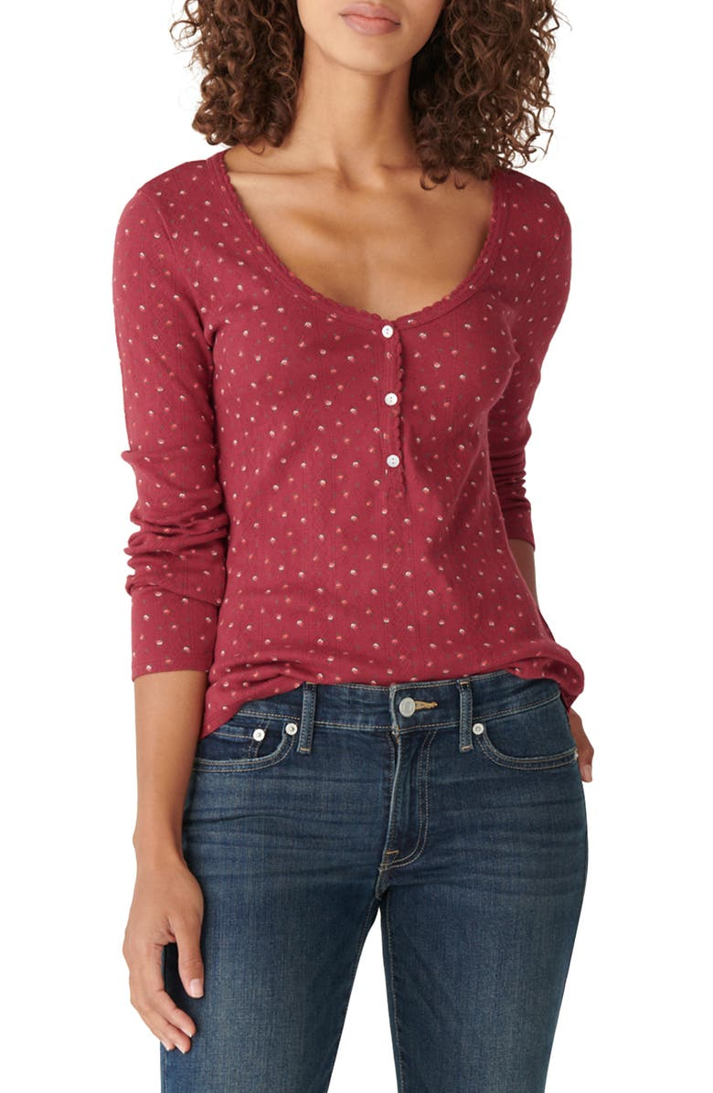 LUCKY BRAND Pointelle Henley Shirt, Main, color, RED MULTI