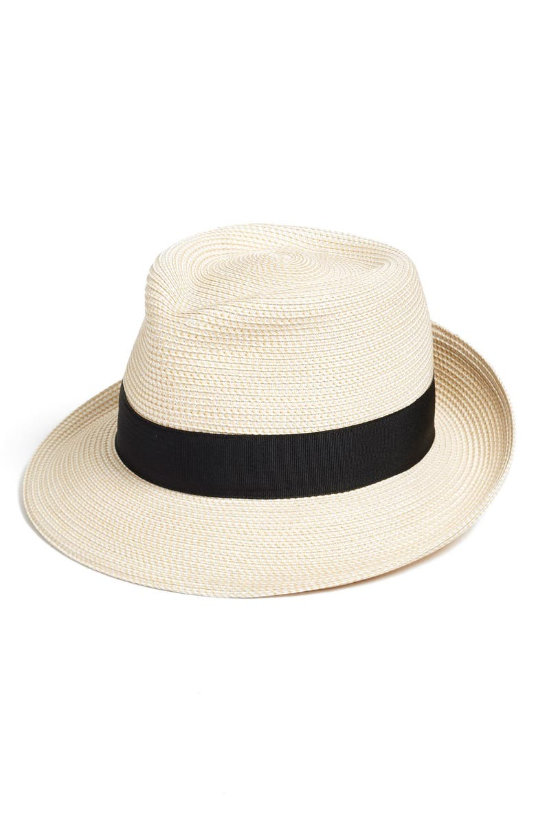 ERIC JAVITS Classic Squishee<sup>®</sup> Packable Fedora Sun Hat, Main, color, CREAM/ BLACK
