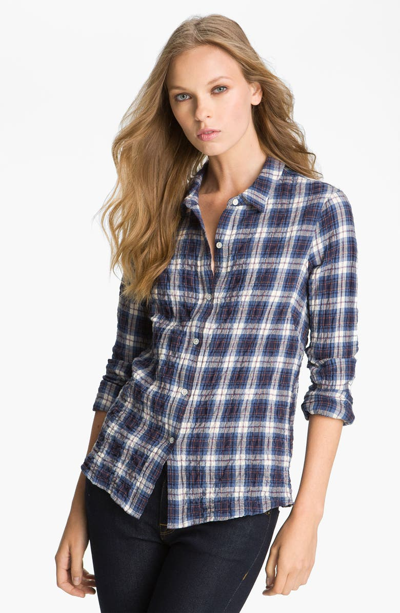 JAMES PERSE 'Tomboy' Crinkle Plaid Shirt, Main, color, CURRENT