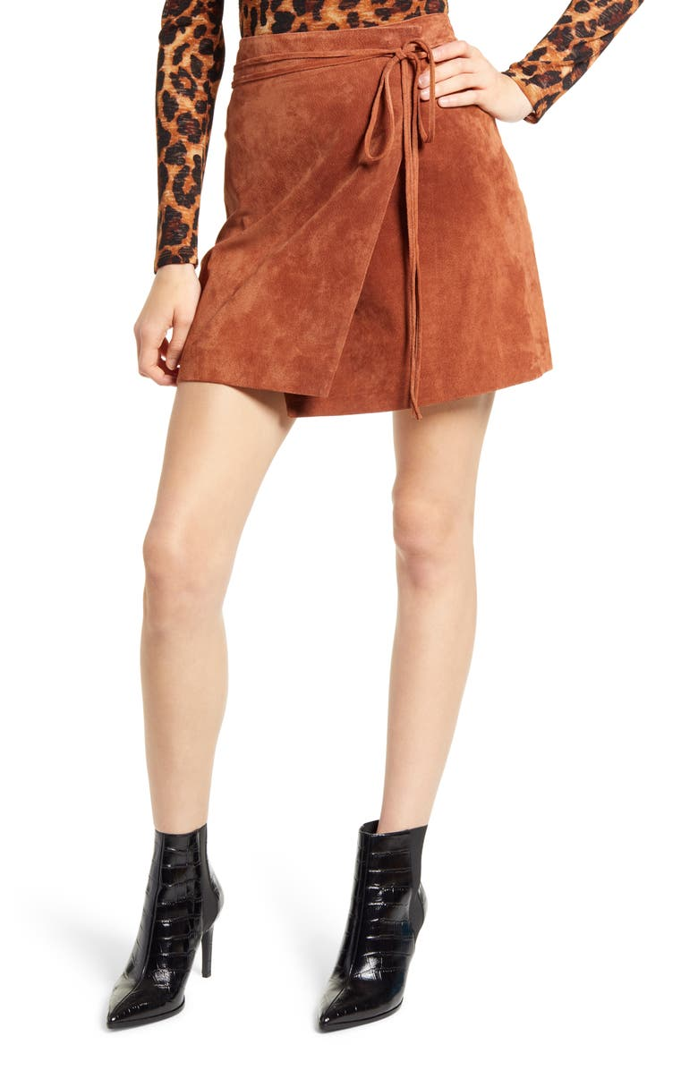 BLANKNYC Suede Wrap Miniskirt, Main, color, MUD PIE