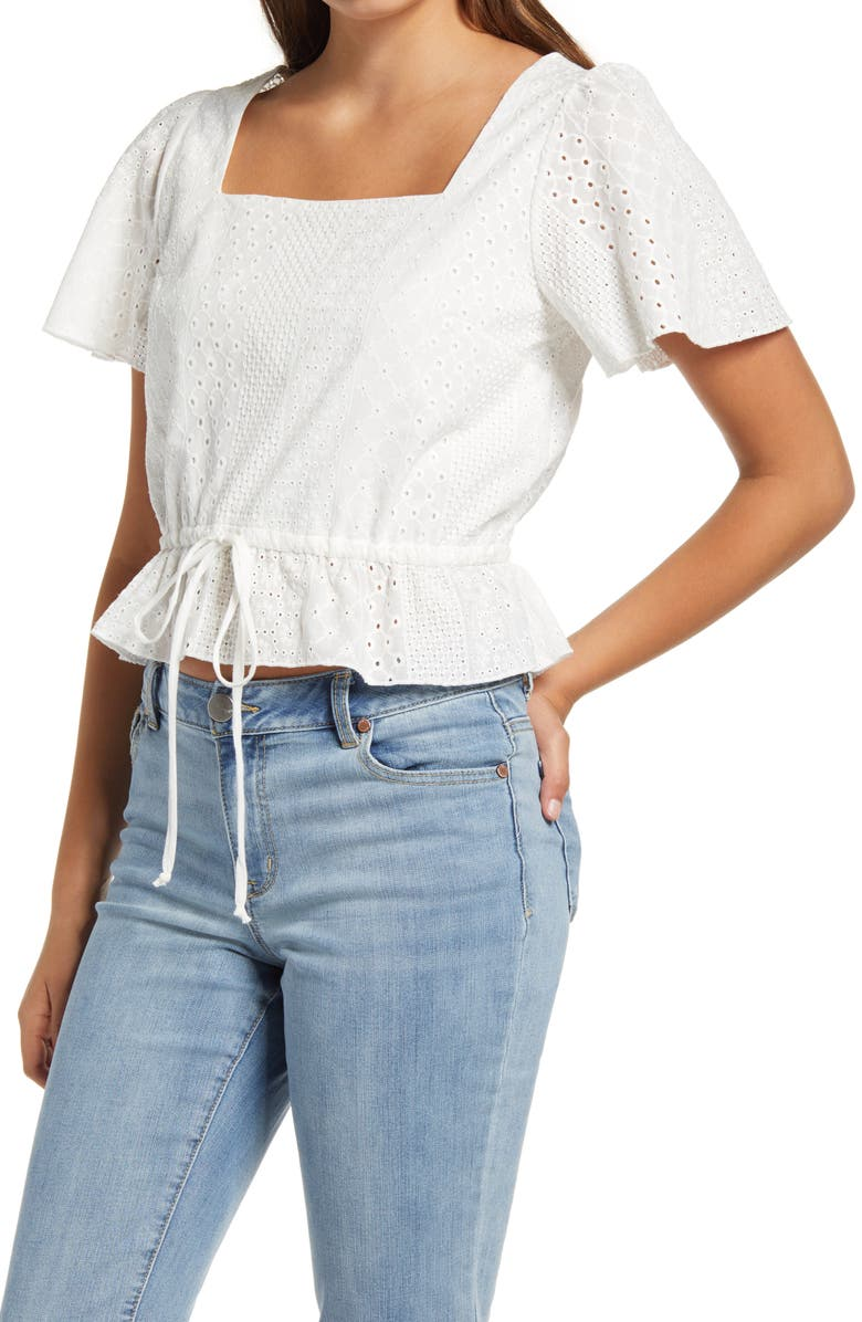 KIRIOUS Embroidered Square Neck Top, Main, color, WHITE