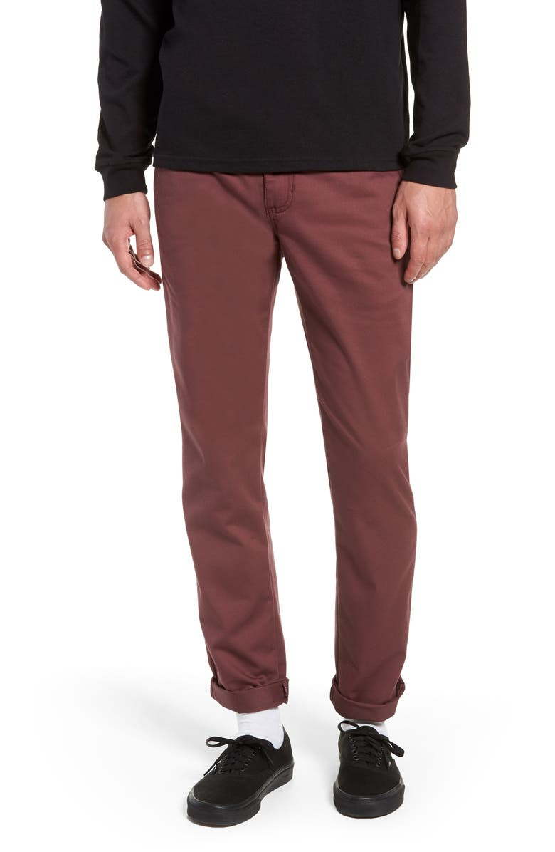 VANS Authentic Stretch Chino Straight Fit Pants, Main, color, PORT
