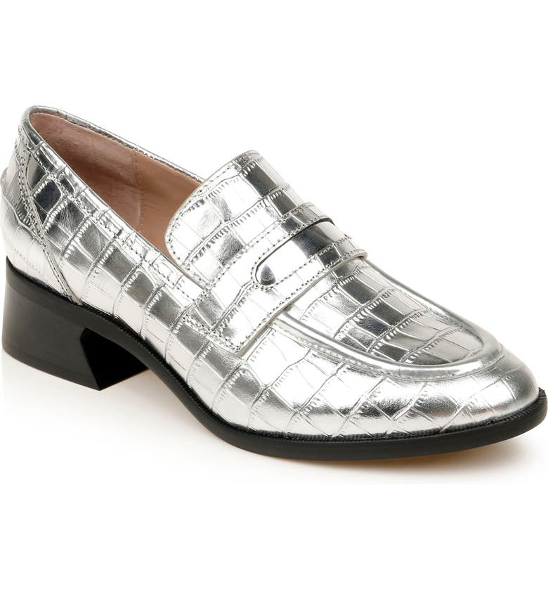 ZAC ZAC POSEN Wayne Loafer, Main, color, SILVER EMBOSSED PATENT LEATHER