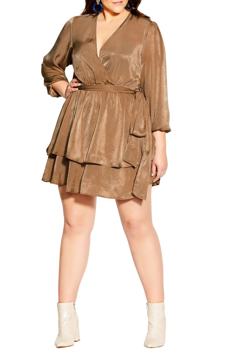 CITY CHIC Twisted Ruffle Dress, Main, color, BRONZE
