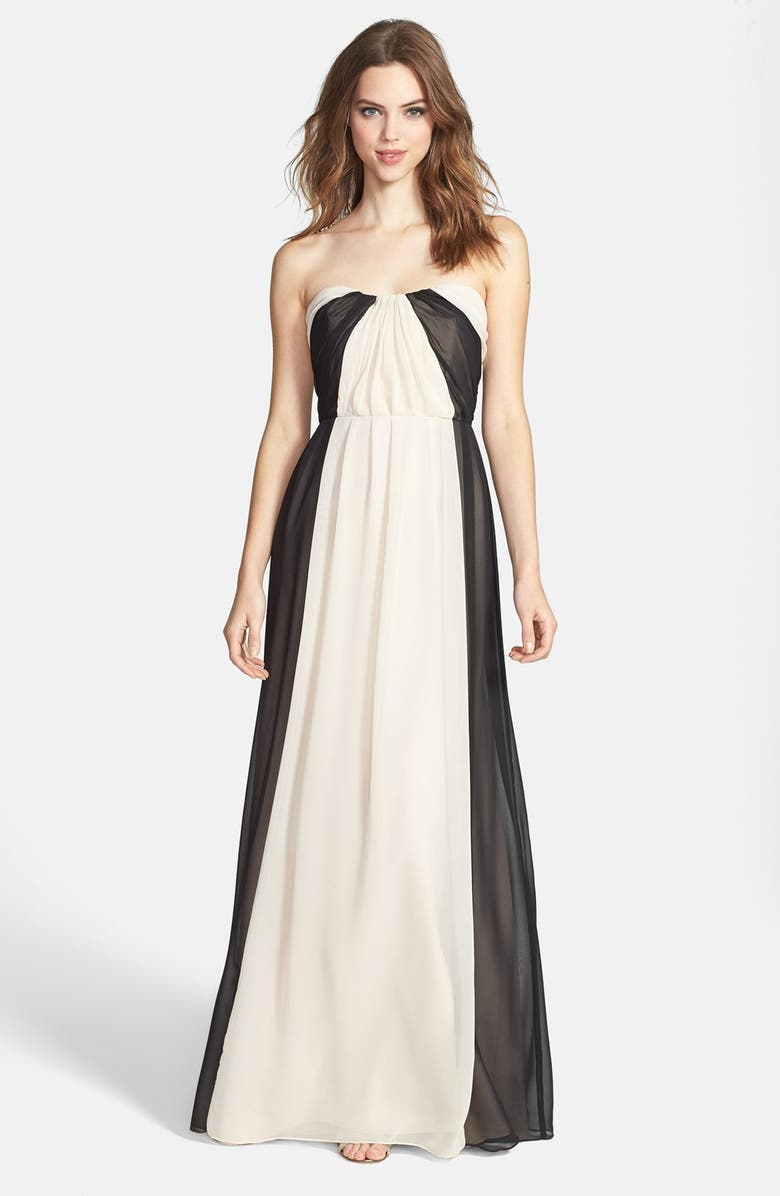 JIM HJELM OCCASIONS Two-Tone Pleat Chiffon Gown, Main, color, 001