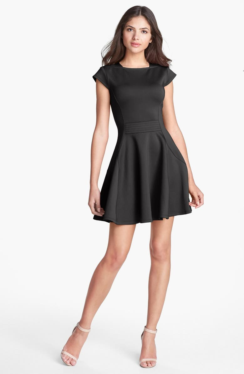 TED BAKER LONDON 'Tezz' Stretch Skater Dress, Main, color, 001