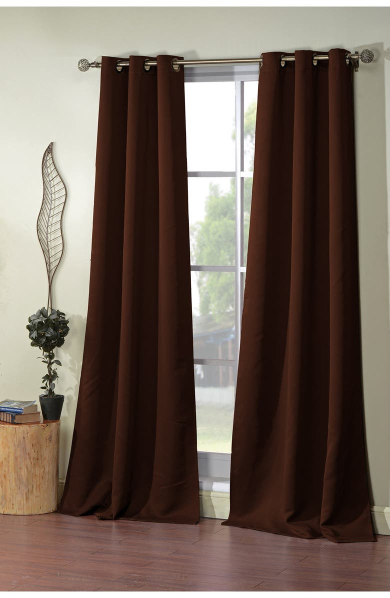 DUCK RIVER TEXTILE Steyna Solid Blackout Curtain Set - Chocolate, Main, color, CHOCOLATE