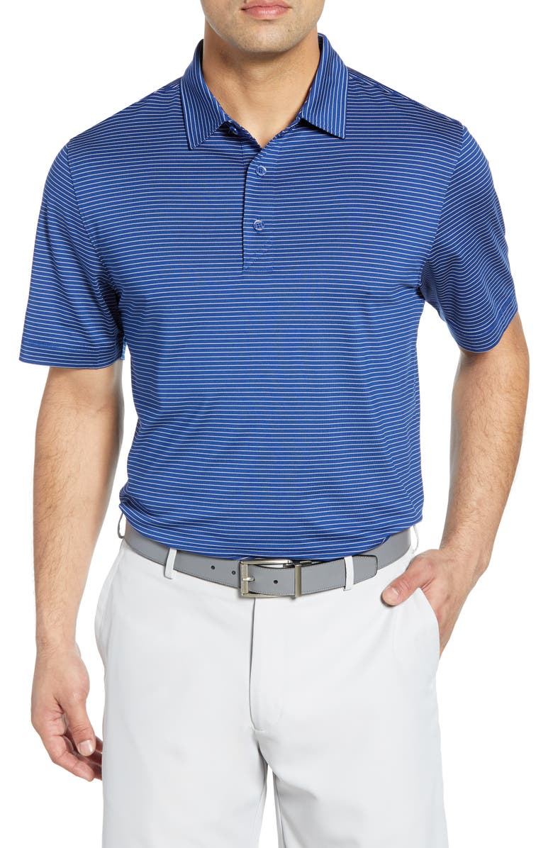 CUTTER & BUCK Forge DryTec Pencil Stripe Performance Polo, Main, color, TOUR BLUE