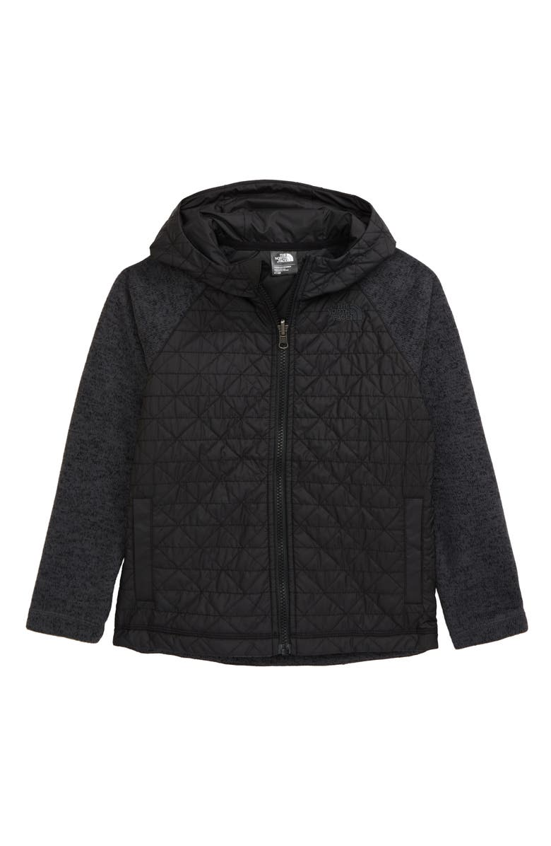 THE NORTH FACE Quilted Sweater Fleece Hoodie, Main, color, 001