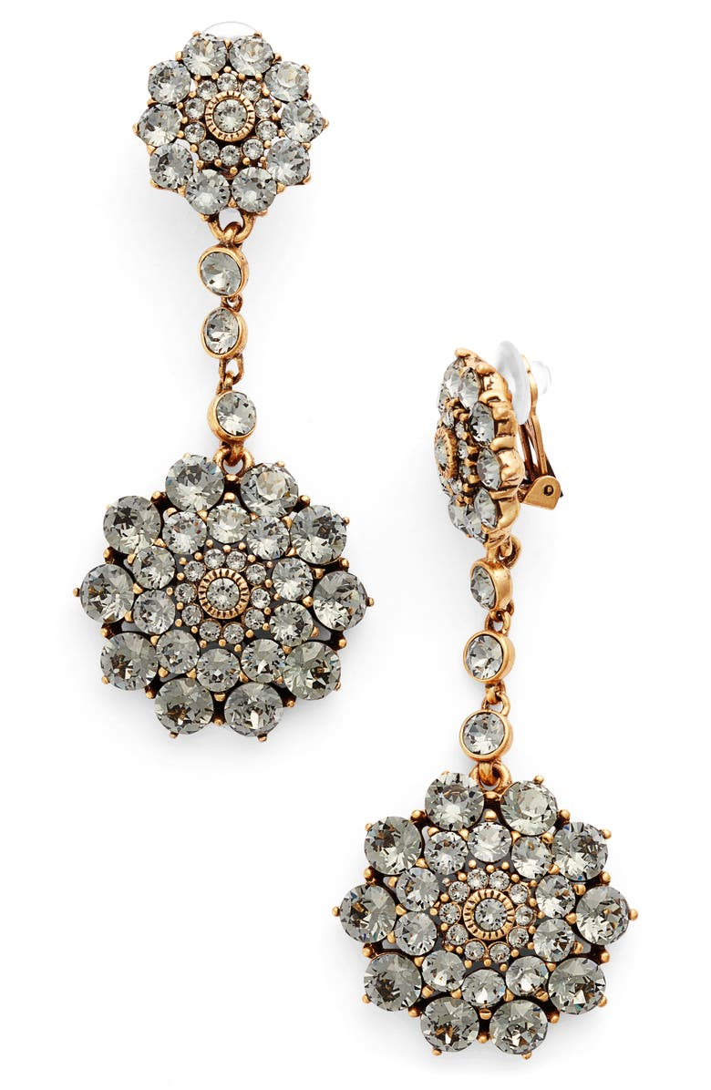 OSCAR DE LA RENTA Classic Jeweled Swarovski Crystal Drop Earrings, Main, color, BLACK