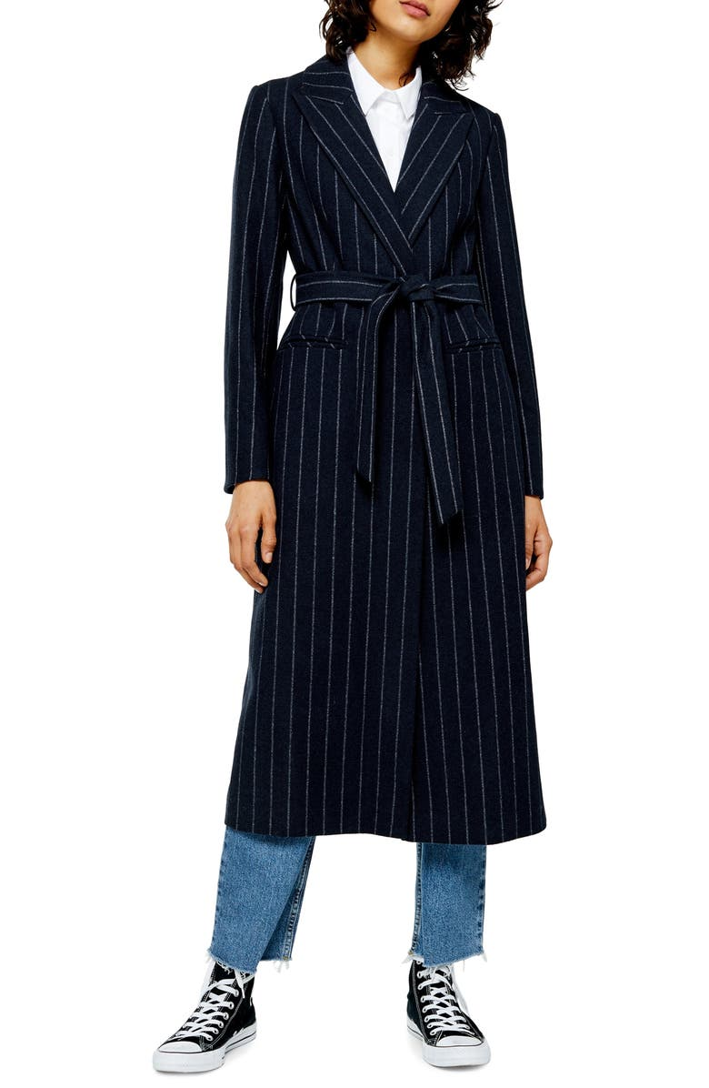 TOPSHOP Bunty Stripe Coat, Main, color, 411