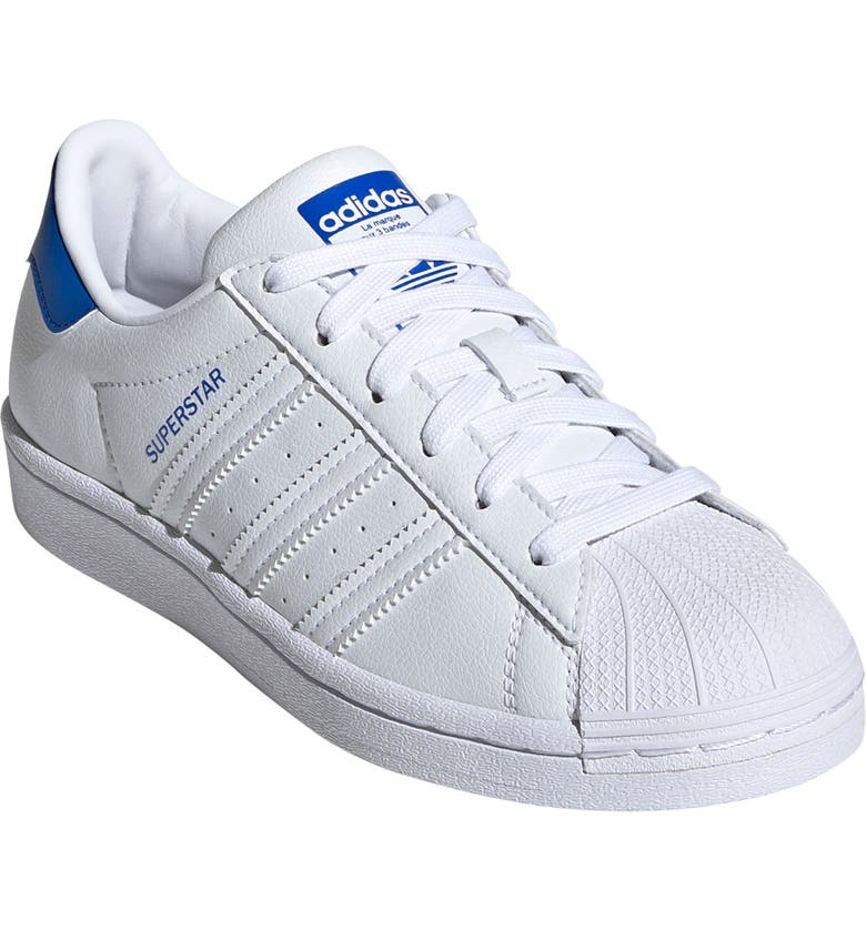 ADIDAS Kids' Superstar Sneaker, Main, color, WHITE/ WHITE/ BLUE