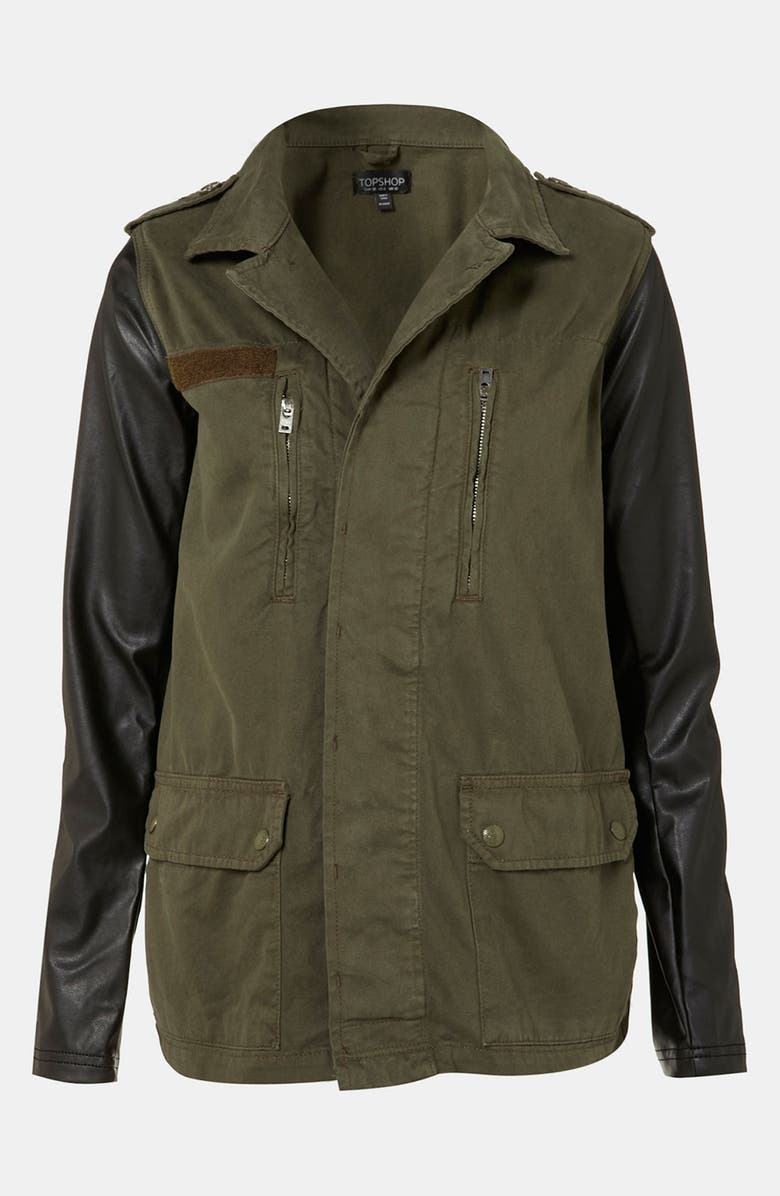 TOPSHOP Faux Leather Sleeve Army Jacket, Main, color, 251