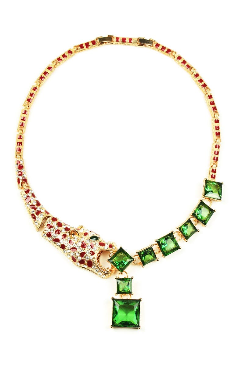 EYE CANDY LOS ANGELES Leopard Crystal Necklace, Main, color, MULTI COLOR
