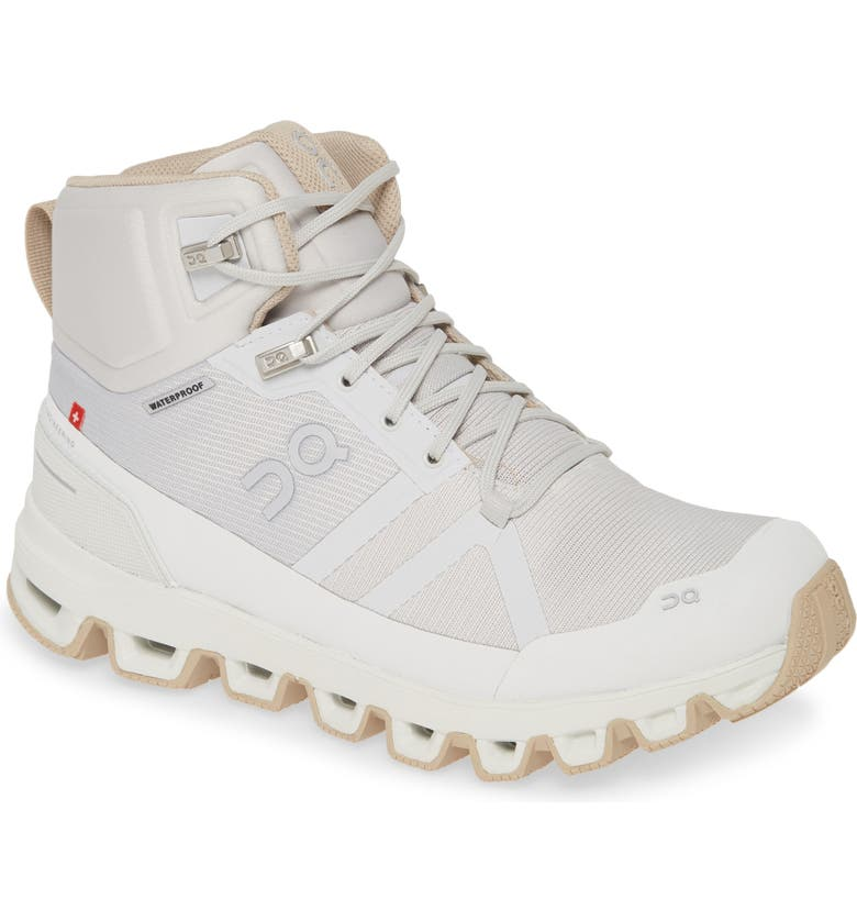 ON Cloudrock Waterproof Hiking Boot, Main, color, GLACIER/ SAND