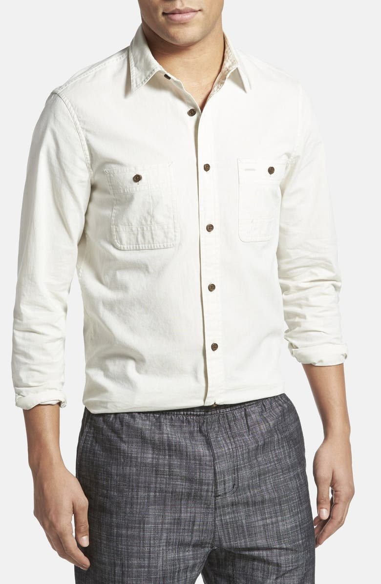 WALLIN & BROS. 'Workwear' Trim Fit Chambray Sport Shirt, Main, color, 300