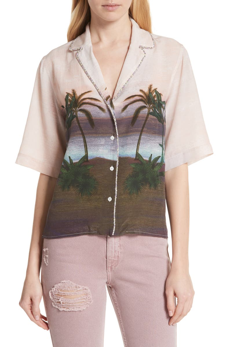 SANDRO Embellished Tropical Top, Main, color, 650