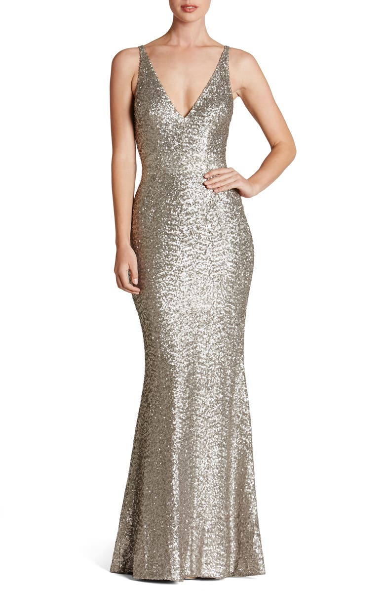 DRESS THE POPULATION Harper Mermaid Gown, Main, color, 041