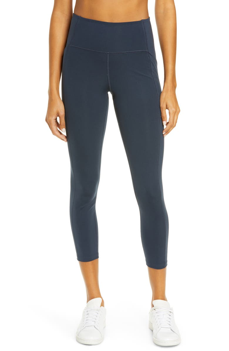 GIRLFRIEND COLLECTIVE Pocket Crop Leggings, Main, color, MIDNIGHT