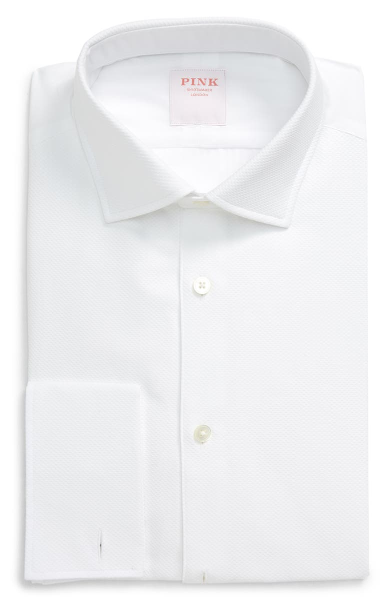 THOMAS PINK Slim Fit Tuxedo Shirt, Main, color, 100