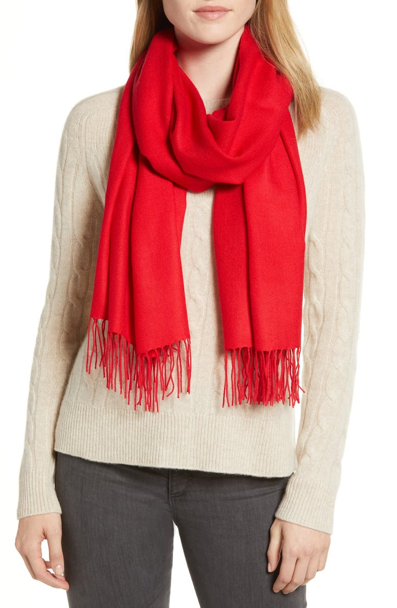 NORDSTROM Tissue Weight Wool &Cashmere Scarf, Main, color, RED CHINOISE