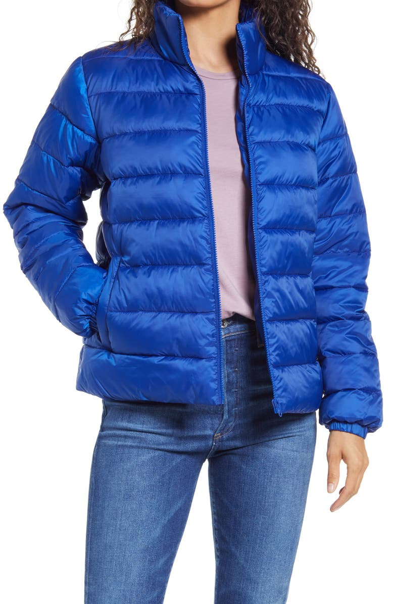 NORDSTROM Zip Puffer Coat, Main, color, BLUE SURF